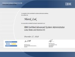 Certified Advanced System Administrator Lotus Notes and Domino
