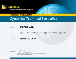 Symantec Technical Specialist Backup Exec System Recovery